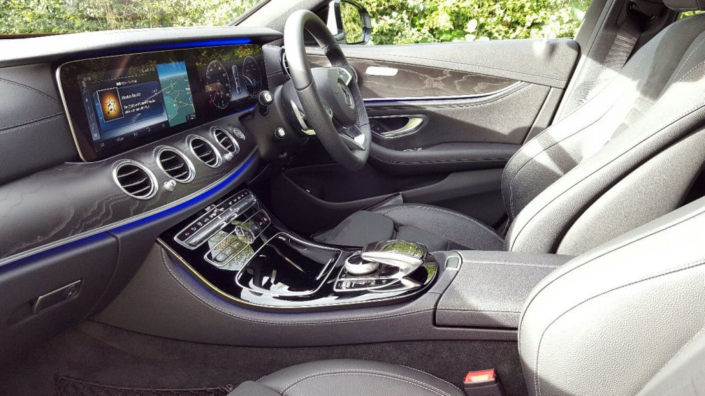 White Mercedes E Class AMG Line Wedding Car Hire Interior