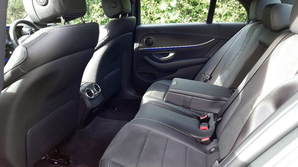White Mercedes E Class AMG Line Wedding Car Hire Rear Interior