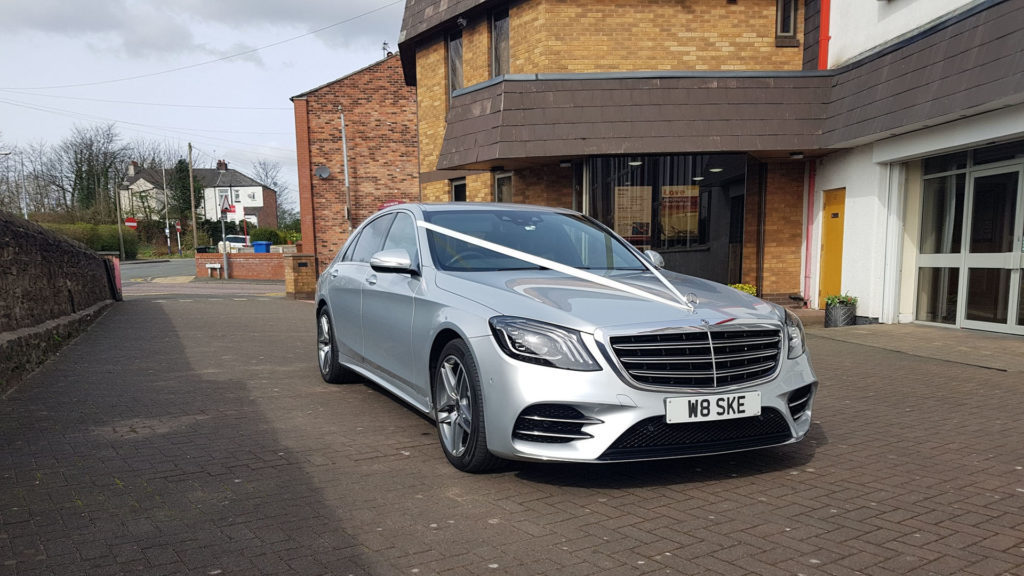 Silver Mercedes S Class AMG Line L Wedding Car Hire