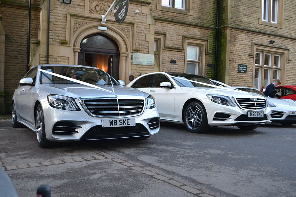 Mercedes S Class Silver & White Wedding Car Hire.